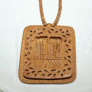 SALE Vintage Carved Sandalwood Necklace